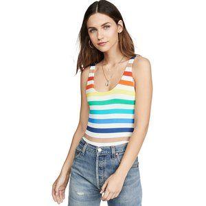 Alice and Olivia Deanne Rainbow Stripe Bodysuit